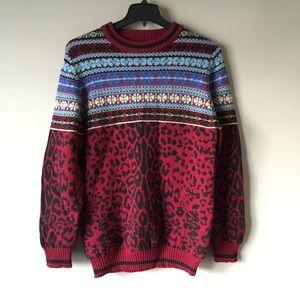Sibling London Leopard Fair Isle Wool Sweater S